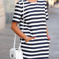 White Short Sleeve Striped Pockets Dress