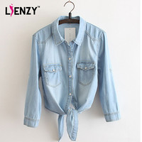 LIENZY 2016 Summer Casual Womens' Denim Shirt Polo Neck Solid Three Quarter Sleeve Bandage Denim Crop Top Shirt Blouse
