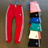 ADIDAS Stripe Print Stretch Leggings Sweatpants Exercise Fitness Sport Pants Trouser