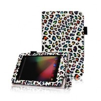 FINTIE (Leopard Rainbow) Leather Folio Stand Case Cover (With Automatic Sleep/Wake Feature) for Google Asus Nexus 7 Inch Android Tablet