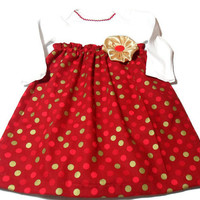 Baby  Dress , Red and Gold Christmas  Dress,  Holiday Baby Clothes, Bodysuit Dress