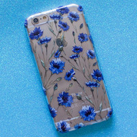 Personality blue flower mobile phone case for iphone 6 6s + Nice gift box 072301