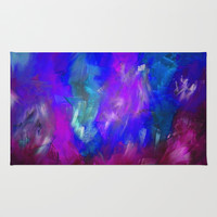 Midnight Flower Garden In Shades of Deep Blue, Violet, Purple and Pink Rug by Jenartanddesign