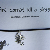 Game of Thrones Daenerys Fire Cannot Kill a Dragon Brown Leather Friendship Bracelet on Quote Card with Silver Tone Dragon Charm