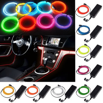 1/2/3/5M EL Wire Rope Car Party Dance Decor Flexible Neon Light Glow +Controller = 1946186116