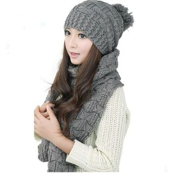 2017 Autumn Winter Women Scarf Wrap Hats Set New Fashion Warm Knitted Scarf Beanies Sets Ladies Crochet Slouch Cap Scarves