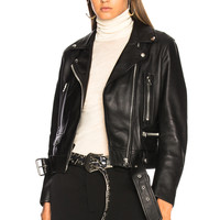 Acne Studios Mock Leather Jacket in Black | FWRD