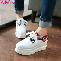 VALLKIN New Size 34-39 Lace Up Women Pumps Square Toe Pu Printing Leather Wedges High Heels Platform Autumn/Spring Party Shoes