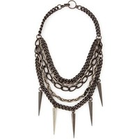 Paige Novick Mixed Chain Necklace With Spikes Gunmetal - SinnStyle.com
