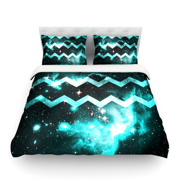 "Alveron ""Aqua Galaxy Chevron"" Featherweight Duvet Cover"