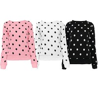 Hot Women Long Sleeve Star Print Pullover Blouse Round Neck Tops