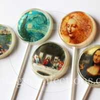 """Famous paintings edible images hard candy lollipops - 2"""" lollipops - 5 pc. - MADE TO ORDER"""