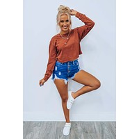 Brick And Mortar Cropped Top: Rust