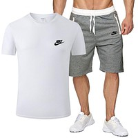NIKE Popular Men Casual Short Sleeve Top Sport Gym Set Two-Piece Sportswear White