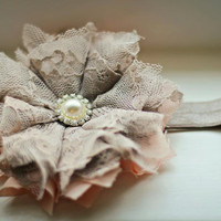Vintage inspired shabby chic peach with by 3cutiepiesbowtique