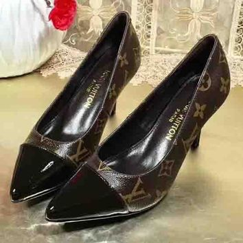 Louis Vuitton LV New style Pointed Single Shoe Woman High Heels LV Print Shoes Coffee