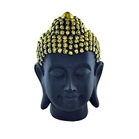 Buddha Head Statue in Wood Black and Gold
