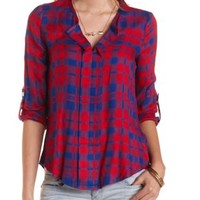 Plaid V-Neck Pullover Top by Charlotte Russe