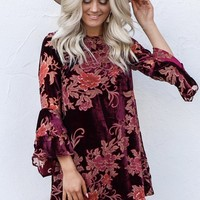 Denmark Wine Velvet Floral Ruffle Sleeve Dress