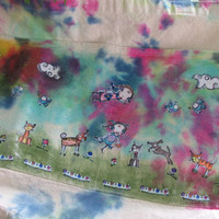 Canvas, decoupage, tie-dye tote bag made using Sunny Carvalho's Art satmps