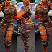 Camouflage Ripped Jumpsuit with Hood 22117