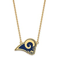 SS 14k Yellow Gold Plated NFL Rams LG Enamel Necklace, 18 In