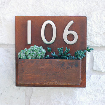 """Metal Address Plaque and Succulent Wall Planter  - 12"""" x 12"""" Square with (3) Satin Nickel Address Numbers & Free Shipping"""