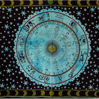 Astrological Teal Tapestry : Celestial Tapestry, Wall Hanging, Wall Decor, Hippie, Bohemian, Dorm Room