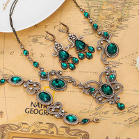 Fashion Turkish Jewelry sets For Women Wedding Accessories Fine Emerald Rhinestone Necklace Earring Bracelet Jewellery sets Ouro