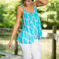 Hands Down Tank, Turquoise
