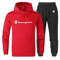 Champion Women Men Lover Top Sweater Pants Trousers Set Two-Piece Red