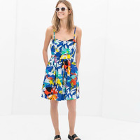 Blue Painted Print Spaghetti Straps Dress With Pocket