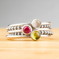 Gemstone stacking ring set in Sterling Silver with Pink Ruby, Green Peridot, and Silver Moonstone - Silver stackable rings with gemstones