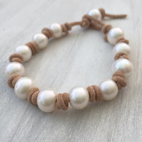 Freshwater pearl bracelet, knotted leather, leather and pearls, pearls on leather, pearl bracelet, large hole pearls, pearls on leather