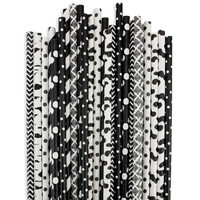 Black White Paper Straw Assortment