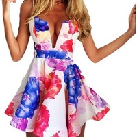 OURS Women's Sexy Floral Print Deep V-neck Backless Strap Party Dress