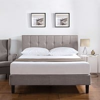 Queen Medium Grey Upholstered Platform Bed Frame with Button Tufted Headboard