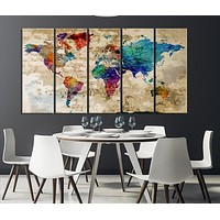 90672 Large Wall Art Rainbow Coloured World Map on Old Cream Wall Canvas Print