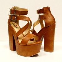 Wish For It Platform Sandal in Whiskey | Luichiny