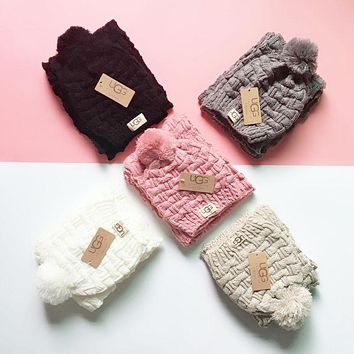 """""""UGG"""" Classic Trending Stylish Knit Warmer Hat Cap Scarf Two Piece Set"""