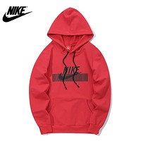 NIKE 2018 autumn and winter new men and women models headband loose hoodie Red