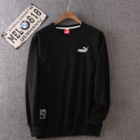 Black Puma Long Sleeve Men's Sweater Pullover Coat