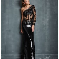 Night Moves by Allure - Black Sequin & Cut Out Single Sleeve Prom Dress Prom 2015