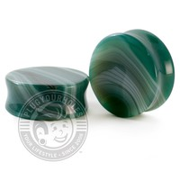 Green Line Agate Stone Plugs