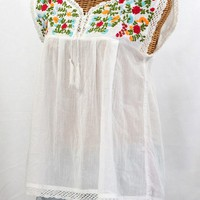 """La Marbrisa"" Embroidered Mexican Sleeveless Peasant Blouse Top -White + Fiesta"