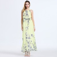 Women's Fashion Bohemia Summer Beach Chiffon Print One Piece Dress = 5893198401
