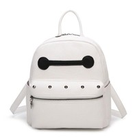 2017 New Women Kawaii Baymax Pattern Cute Studs Detail Backpack