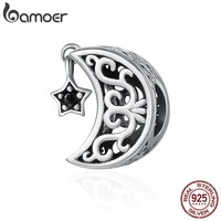 Sterling Silver Openwork Moon and Star Goodnight Charm Beads Jewelry Valentine Day Gift