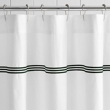 Grand Embroidered Organic Shower Curtain