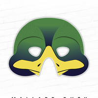 Printable Mask, Halloween Mask, Green Duck, Mallard Duck Duckling Bird Mask, Animal Mask, Party Mask, Plucky, Photo Booth Prop, For Kids